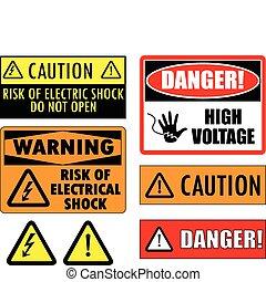 sikkerhed, elektriske, tegn