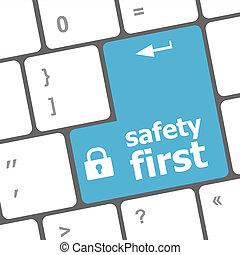 sikkerhed første, rykke sammen, udsigter, på, begrebsmæssig, klaviatur, garanti, blå, nøgle