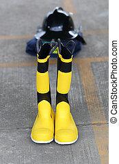 sikkerhed, firefighter, sko