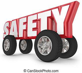 sikkerhed, hjul, dæk, kørende, vej, lovene, pengeskab færdes
