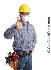 sikkerhed, konstruktion, thumbsup