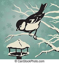 sikora, posiedzenie, na gałęzi, blisko, przedimek określony przed rzeczownikami, dozownik, w, zima