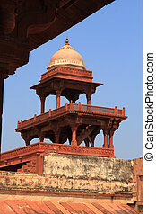 sikri, fatehpur, indie, uttar, architektura, agra, pradesh