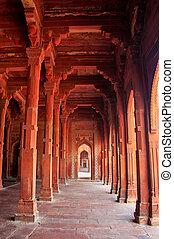 sikri, fatehpur, indie, uttar, masjid, jama, wewnętrzny, pradesh