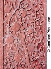 sikri, pałac, fatehpur, szczegół, pokrajany, architektoniczny, kwiaty