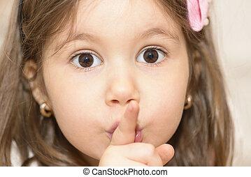 silêncio, menina, mostrando, gesto