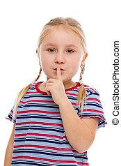 silêncio, pequeno, mostrando, menina, sinal