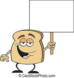 silício, fatia, caricatura, segurando, pão