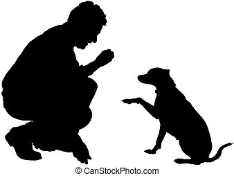 Man is training the dog obedience