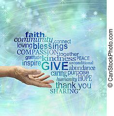s'il vous plaît, generously, donner