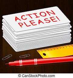 s'il vous plaît, illustration, action, message, spectacles, 3d