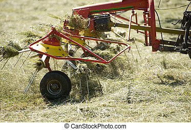 silage - hay turning equipment on the meadow