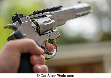 silber, eins, ziele, schwer , große hand, luft, revolver