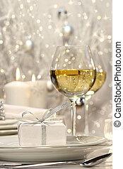 silber, geschenkband, geschenk, mit, festlicher, hintergrund