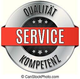 silber glnzendes rundes siegel  qualitt service kompetenz