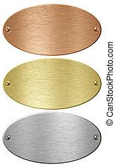 silber, gold, und, bronze, metall, ellipse, platten,...