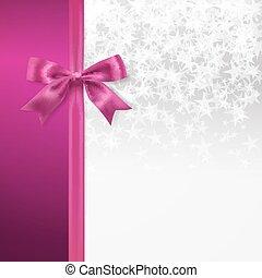 silber, starry, hintergrund, mit, rosa, schleife, dekorativ, hintergrund., vektor