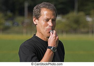 silbido, árbitro del fútbol, soplar