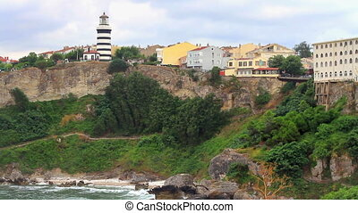 Sile Lighthouse over the hill in Istanbul, Turkey