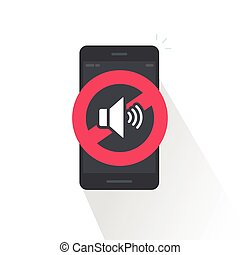 Silence cell phone sign vector illustration isolated on...