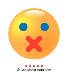 Silence emoticon icon . Different color .