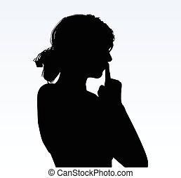 silence, femme, silhouette, geste, main