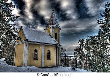 Silence of beautiful mountain Calvary in Slovakia