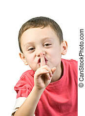 silence - boy with finger near mouth