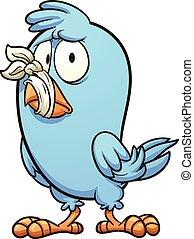 Silenced bird - Blue bird with a tied beak. Vector clip art...