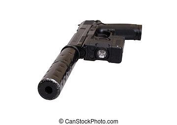 silenciador, operação, handgun, especiais