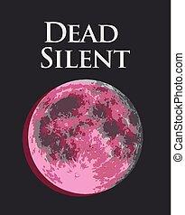 silencieux, entiers, rose, illustration, lune, vecteur, mort