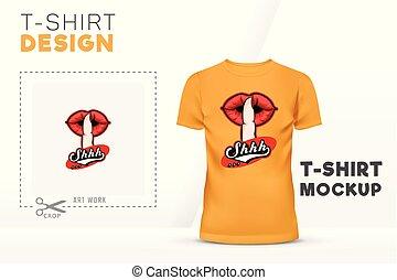 silencieux, signe, t-shirt, conception, gabarit, main, shhh