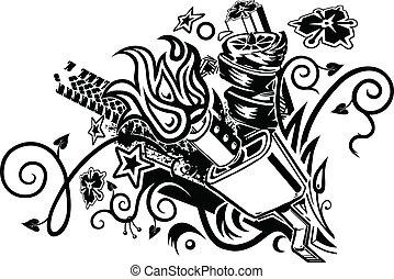 silencieux, tatouage, explosion