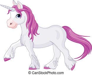 silenciosamente, yendo, unicornio