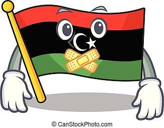 silencioso, bandera, clings, pared, libia, mascota