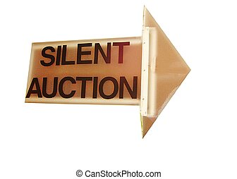 Silent auction sign in arrow form with white background.