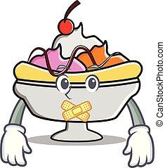 Silent banana split mascot cartoon vector illustration