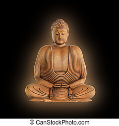 Buudha in prayer with golden aura, over black background.