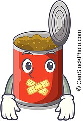 Silent canned food on the tablecloth cartoon