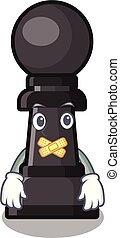 Silent chess pawn on in the character vector illustration
