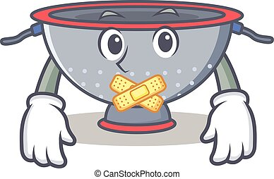 Silent colander utensil character cartoon vector...
