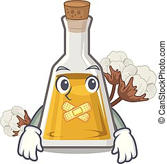 Silent cottonseed oil at the cartoon table vector ...