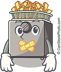 Silent deep fryer machine isolated on mascot vector...