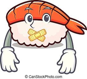 Silent ebi sushi mascot cartoon