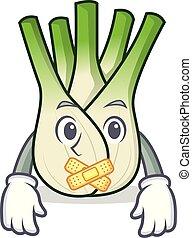 Silent fennel mascot cartoon style vector illustration