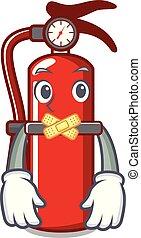 Silent fire extinguisher mascot cartoon