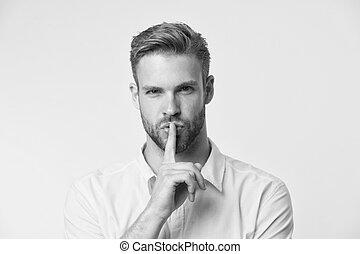 silent., gerecht, behalten, index, geschichte, concept., sicher, geheimnis, secret., sie, hübsch, finger, sein, seine, vertrauliche informationen, legende, gerücht, mann, lips., myth., gesicht, buechse, kerl, erzählte