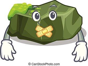 Silent green rock moss isolated on cartoon vector...