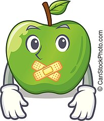 Silent green smith apple isolated on cartoon