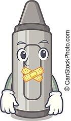 Silent grey crayon in a bag cartoon